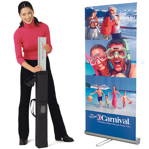 Retractable Roll Up Banner Stand and set up